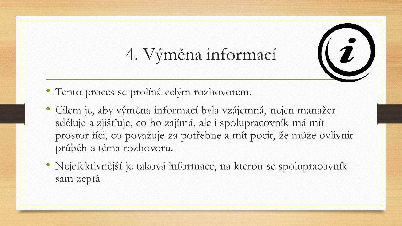 4. Výměna informací Tento proces se prolíná celým rozhovorem. Cílem je, aby výměna informací byla vzájemná, nejen manažer sděluje a zjišťuje, co ho za