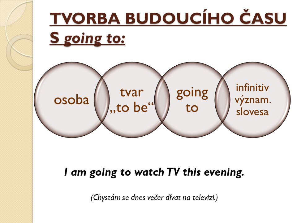 "TVORBA BUDOUCÍHO ČASU S going to: osoba tvar ""to be"" going to infinitiv význam. slovesa I am going to watch TV this evening. (Chystám se dnes večer dí"