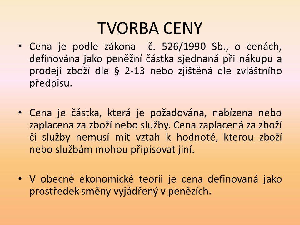 TVORBA CENY Cena je podle zákona č. 526/1990 Sb., o cenách, definována jako peněžní částka sjednaná při nákupu a prodeji zboží dle § 2-13 nebo zjištěn