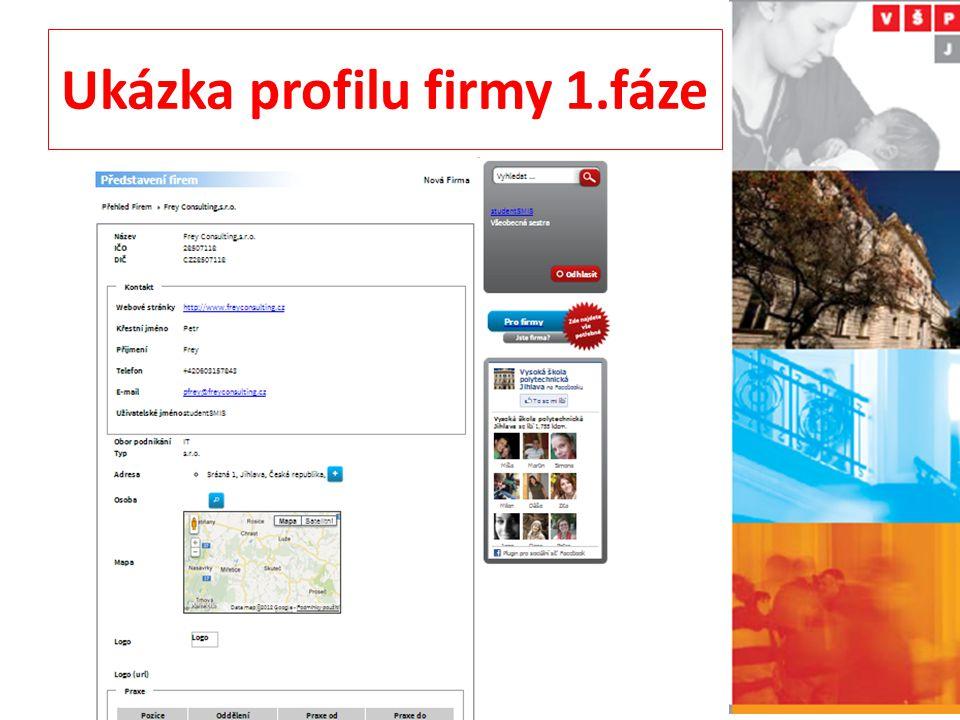 Ukázka profilu firmy 1.fáze