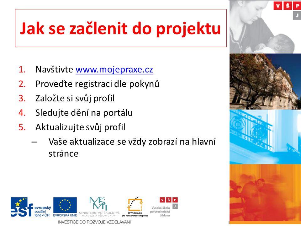 Jak se začlenit do projektu 1.Navštivte www.mojepraxe.czwww.mojepraxe.cz 2.Proveďte registraci dle pokynů 3.Založte si svůj profil 4.Sledujte dění na portálu 5.Aktualizujte svůj profil – Vaše aktualizace se vždy zobrazí na hlavní stránce