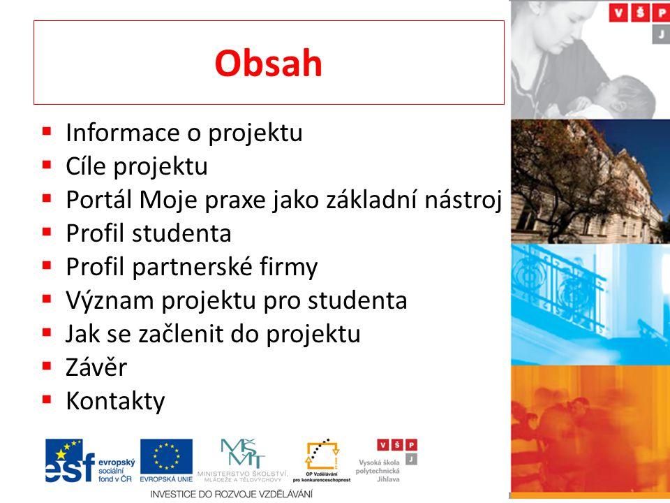 Obsah  Informace o projektu  Cíle projektu  Portál Moje praxe jako základní nástroj  Profil studenta  Profil partnerské firmy  Význam projektu pro studenta  Jak se začlenit do projektu  Závěr  Kontakty