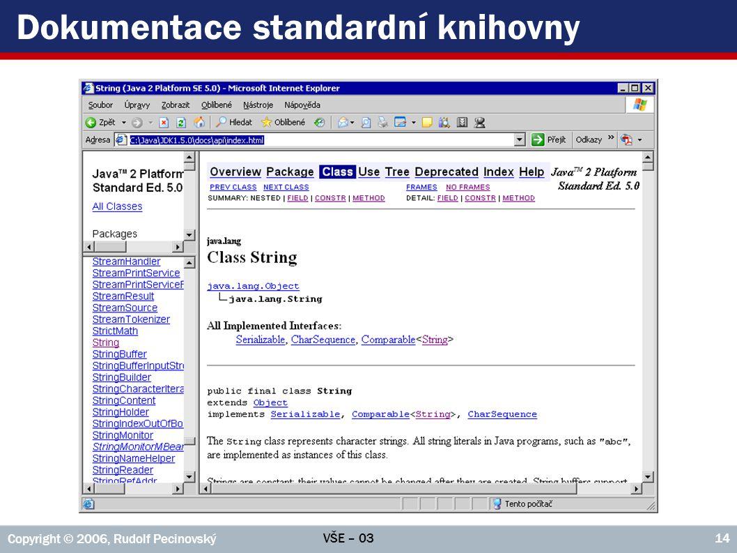 VŠE – 03 Copyright © 2006, Rudolf Pecinovský 14 Dokumentace standardní knihovny