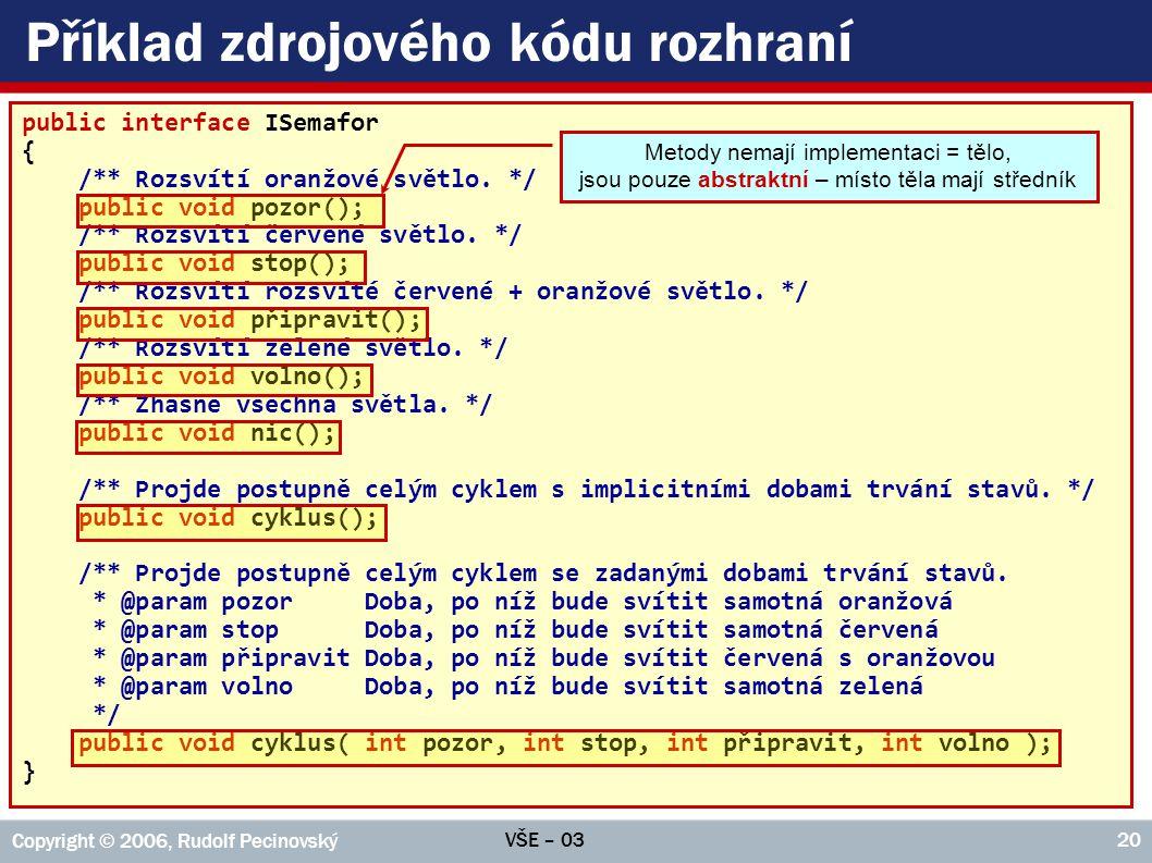 VŠE – 03 Copyright © 2006, Rudolf Pecinovský 20 Příklad zdrojového kódu rozhraní public interface ISemafor { /** Rozsvítí oranžové světlo.