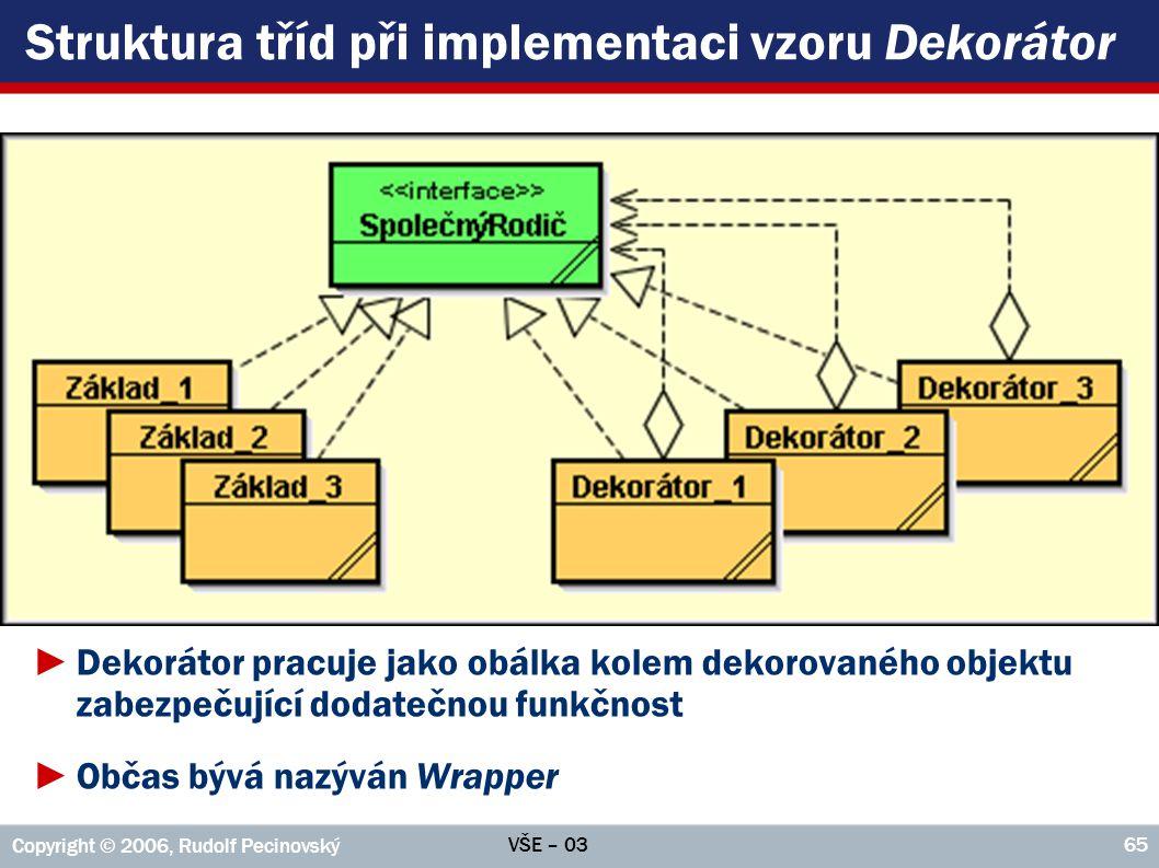 VŠE – 03 Copyright © 2006, Rudolf Pecinovský 65 Struktura tříd při implementaci vzoru Dekorátor ►Dekorátor pracuje jako obálka kolem dekorovaného objektu zabezpečující dodatečnou funkčnost ►Občas bývá nazýván Wrapper