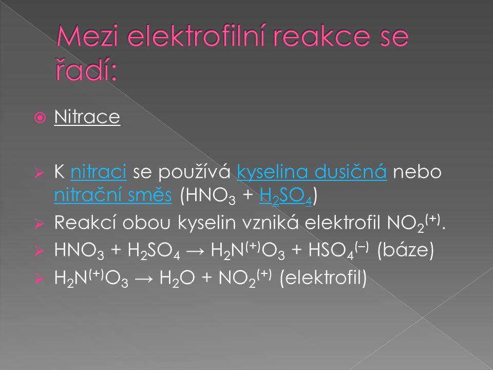  Nitrace  K nitraci se používá kyselina dusičná nebo nitrační směs (HNO 3 + H 2 SO 4 )nitracikyselina dusičná nitrační směsH 2 SO 4  Reakcí obou kyselin vzniká elektrofil NO 2 (+).