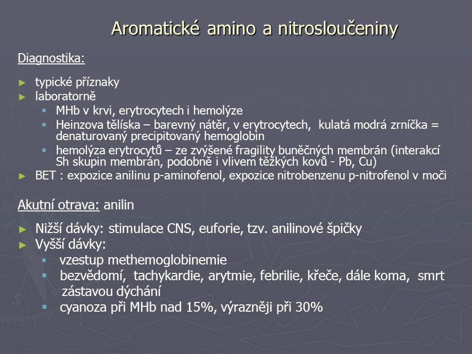 Aromatické amino a nitrosloučeniny Diagnostika: ► ► typické příznaky ► ► laboratorně   MHb v krvi, erytrocytech i hemolýze   Heinzova tělíska – ba