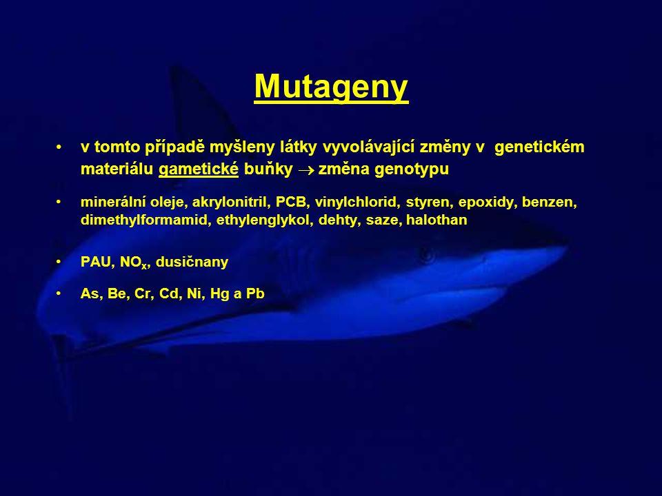 Mutageny v tomto případě myšleny látky vyvolávající změny v genetickém materiálu gametické buňky  změna genotypu minerální oleje, akrylonitril, PCB,