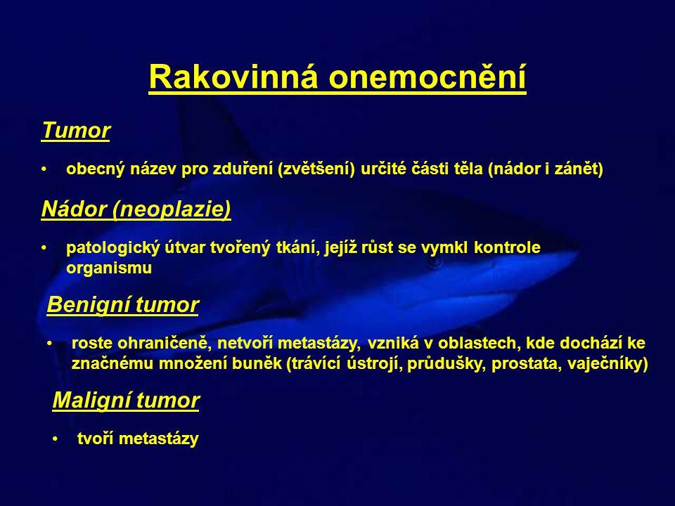 Rakovinná onemocnění Tumor obecný název pro zduření (zvětšení) určité části těla (nádor i zánět) Nádor (neoplazie) patologický útvar tvořený tkání, je