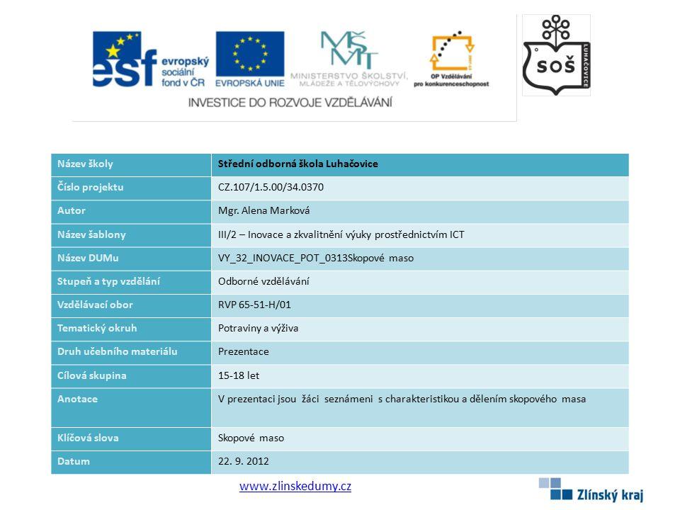 www.zlinskedumy.cz Název školyStřední odborná škola Luhačovice Číslo projektuCZ.107/1.5.00/34.0370 AutorMgr.