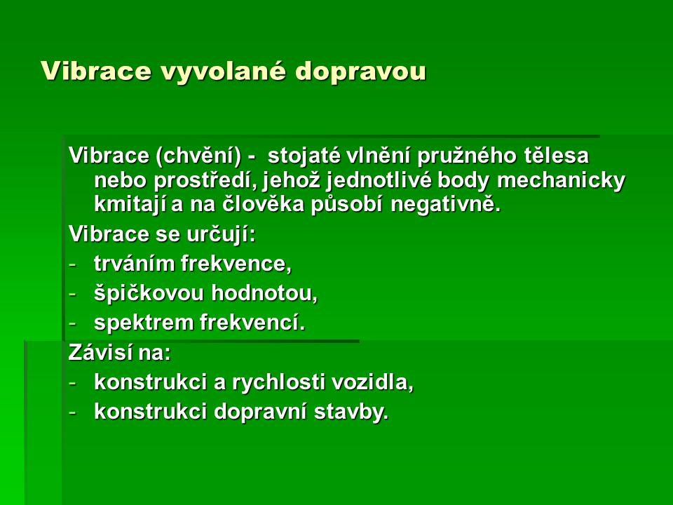 Vibrace vyvolané dopravou Vibrace (chvění) - stojaté vlnění pružného tělesa nebo prostředí, jehož jednotlivé body mechanicky kmitají a na člověka půso