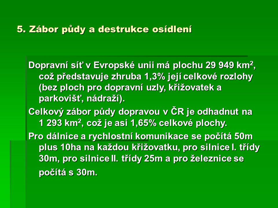 5. Zábor půdy a destrukce osídlení Dopravní síť v Evropské unii má plochu 29 949 km 2, což představuje zhruba 1,3% její celkové rozlohy (bez ploch pro