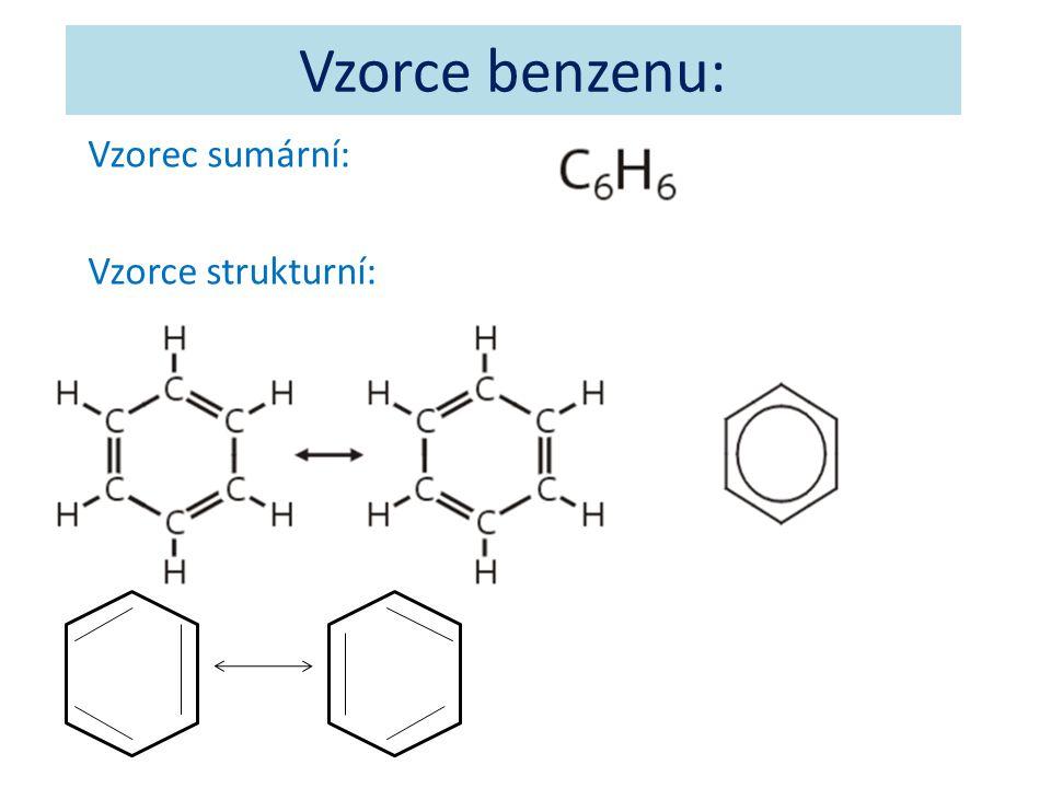 Vzorce benzenu: Vzorec sumární: Vzorce strukturní: