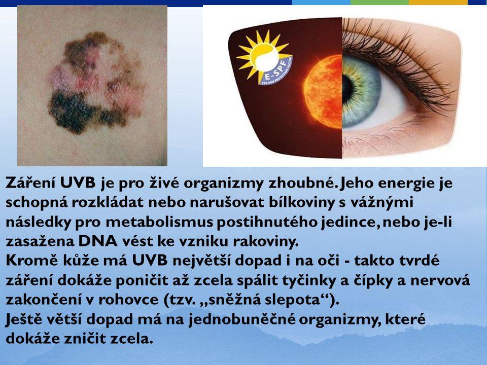 Záření UVB je pro živé organizmy zhoubné. Jeho energie je schopná rozkládat nebo narušovat bílkoviny s vážnými následky pro metabolismus postihnutého