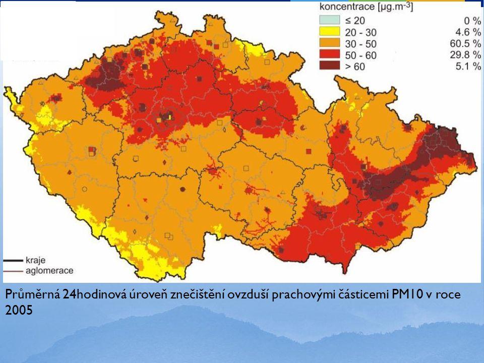 Průměrná 24hodinová úroveň znečištění ovzduší prachovými částicemi PM10 v roce 2005