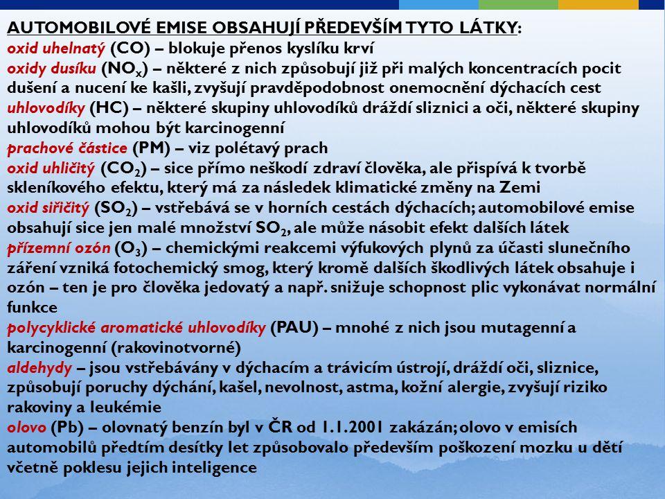 AUTOMOBILOVÉ EMISE OBSAHUJÍ PŘEDEVŠÍM TYTO LÁTKY: oxid uhelnatý (CO) – blokuje přenos kyslíku krví oxidy dusíku (NO x ) – některé z nich způsobují již při malých koncentracích pocit dušení a nucení ke kašli, zvyšují pravděpodobnost onemocnění dýchacích cest uhlovodíky (HC) – některé skupiny uhlovodíků dráždí sliznici a oči, některé skupiny uhlovodíků mohou být karcinogenní prachové částice (PM) – viz polétavý prach oxid uhličitý (CO 2 ) – sice přímo neškodí zdraví člověka, ale přispívá k tvorbě skleníkového efektu, který má za následek klimatické změny na Zemi oxid siřičitý (SO 2 ) – vstřebává se v horních cestách dýchacích; automobilové emise obsahují sice jen malé množství SO 2, ale může násobit efekt dalších látek přízemní ozón (O 3 ) – chemickými reakcemi výfukových plynů za účasti slunečního záření vzniká fotochemický smog, který kromě dalších škodlivých látek obsahuje i ozón – ten je pro člověka jedovatý a např.