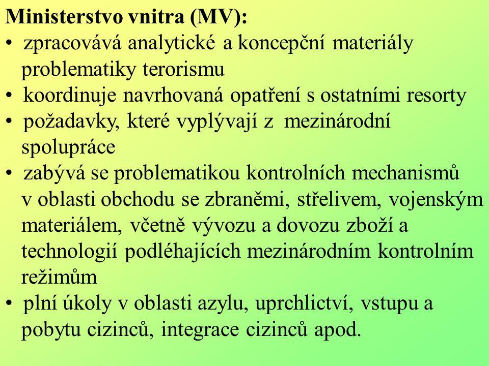 Ministerstvo vnitra (MV): zpracovává analytické a koncepční materiály problematiky terorismu koordinuje navrhovaná opatření s ostatními resorty požada