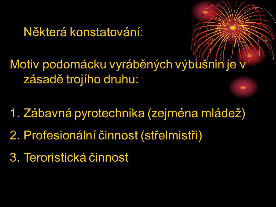 Některá konstatování: Motiv podomácku vyráběných výbušnin je v zásadě trojího druhu: 1.Zábavná pyrotechnika (zejména mládež) 2.Profesionální činnost (