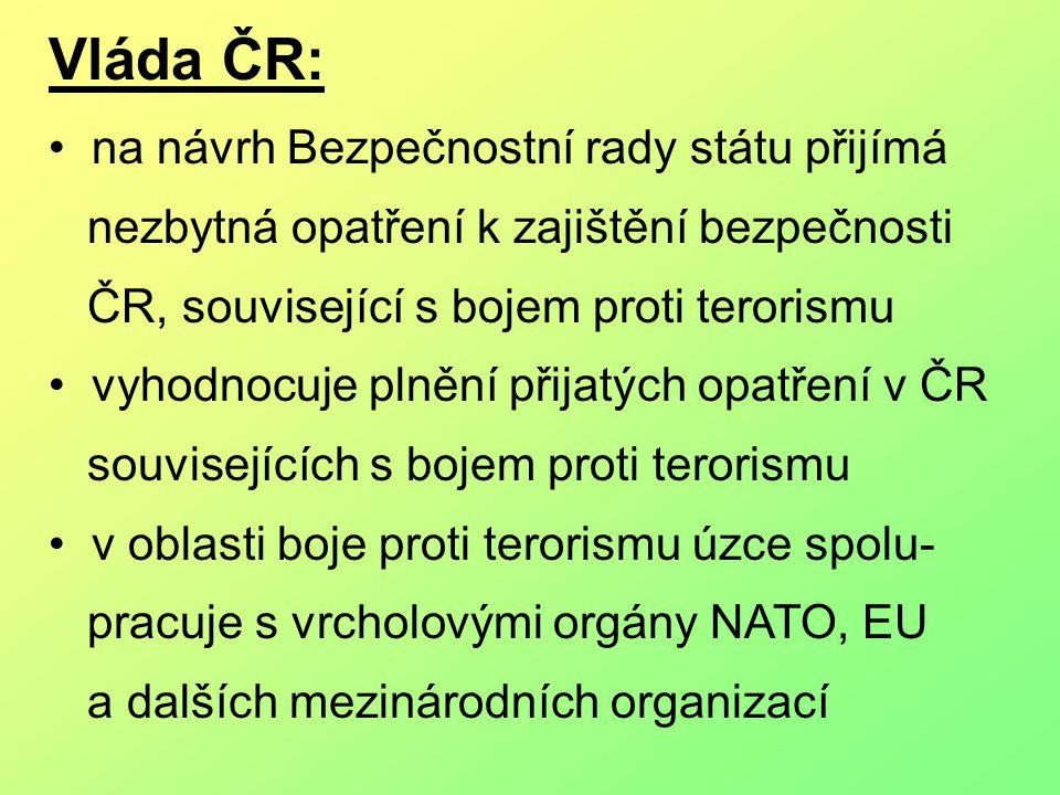 Vláda ČR: na návrh Bezpečnostní rady státu přijímá nezbytná opatření k zajištění bezpečnosti ČR, související s bojem proti terorismu vyhodnocuje plnění přijatých opatření v ČR souvisejících s bojem proti terorismu v oblasti boje proti terorismu úzce spolu- pracuje s vrcholovými orgány NATO, EU a dalších mezinárodních organizací