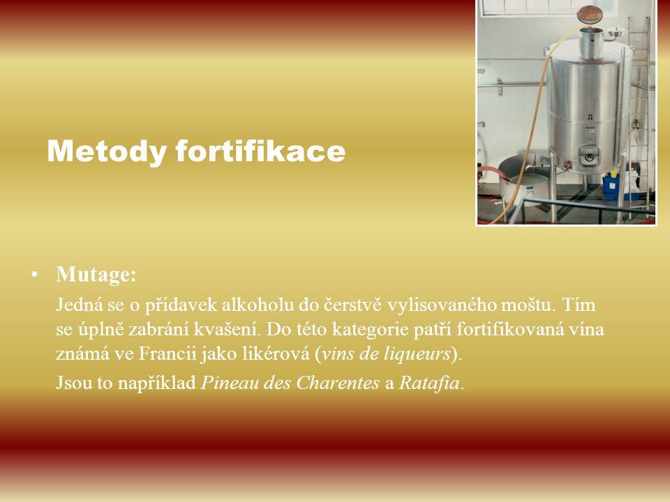 Metody fortifikace Mutage: Jedná se o přídavek alkoholu do čerstvě vylisovaného moštu. Tím se úplně zabrání kvašení. Do této kategorie patří fortifiko
