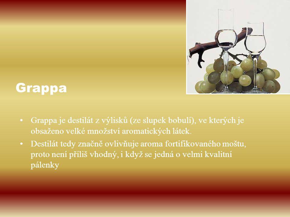 Grappa Grappa je destilát z výlisků (ze slupek bobulí), ve kterých je obsaženo velké množství aromatických látek. Destilát tedy značně ovlivňuje aroma