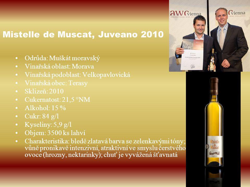 Mistelle de Muscat, Juveano 2010 Odrůda: Muškát moravský Vinařská oblast: Morava Vinařská podoblast: Velkopavlovická Vinařská obec: Terasy Sklizeň: 20