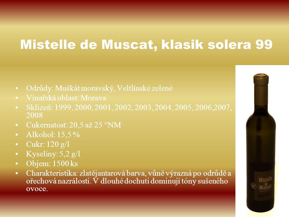 Mistelle de Muscat, klasik solera 99 Odrůdy: Muškát moravský, Veltlínské zelené Vinařská oblast: Morava Sklizeň: 1999, 2000, 2001, 2002, 2003, 2004, 2
