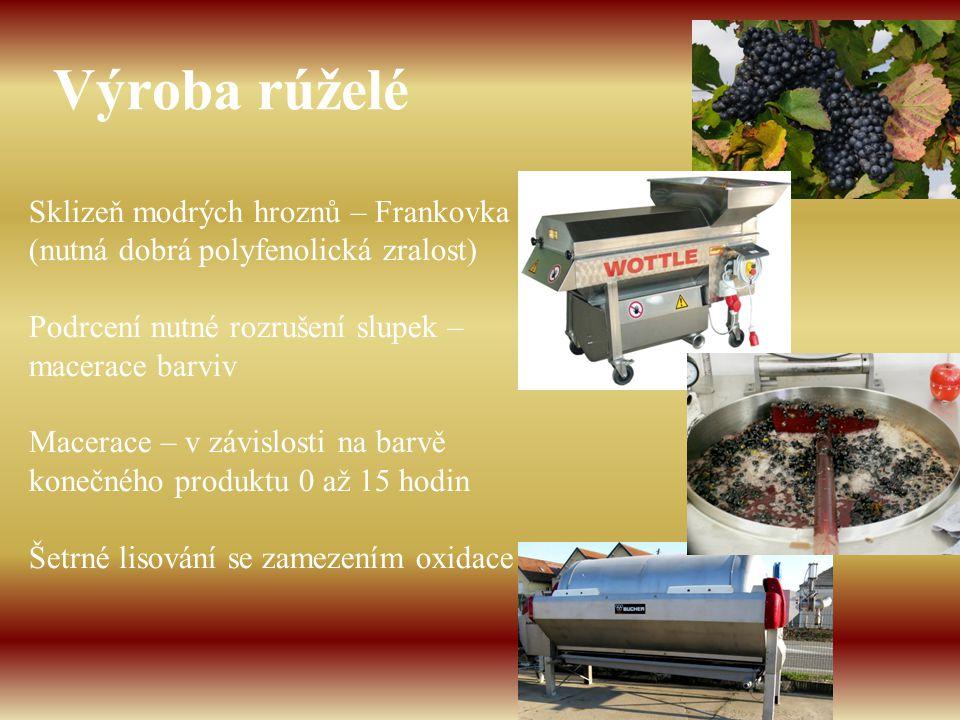 Výroba rúželé Sklizeň modrých hroznů – Frankovka (nutná dobrá polyfenolická zralost) Podrcení nutné rozrušení slupek – macerace barviv Macerace – v zá