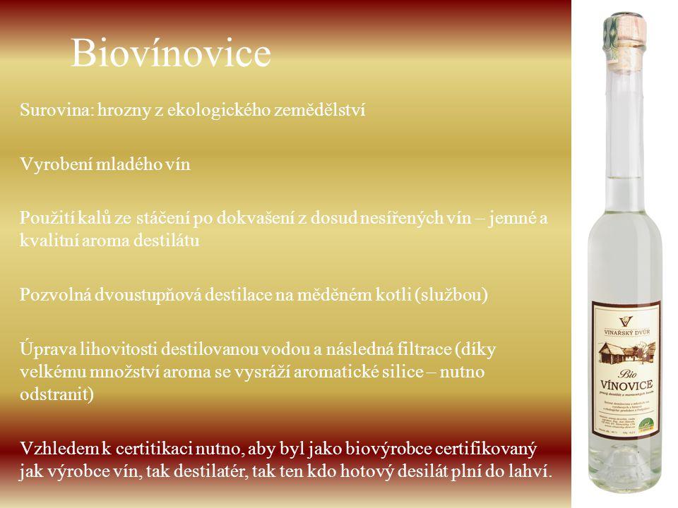 Biovínovice Surovina: hrozny z ekologického zemědělství Vyrobení mladého vín Použití kalů ze stáčení po dokvašení z dosud nesířených vín – jemné a kva