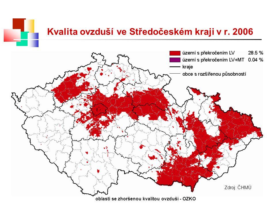 Zdroj: ČHMÚ oblasti se zhoršenou kvalitou ovzduší - OZKO Kvalita ovzduší ve Středočeském kraji v r. 2006