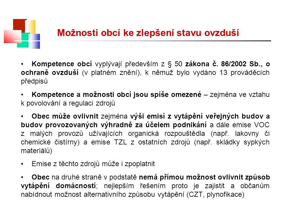 Možnosti obcí ke zlepšení stavu ovzduší Kompetence obcí vyplývají především z § 50 zákona č. 86/2002 Sb., o ochraně ovzduší (v platném znění), k němuž