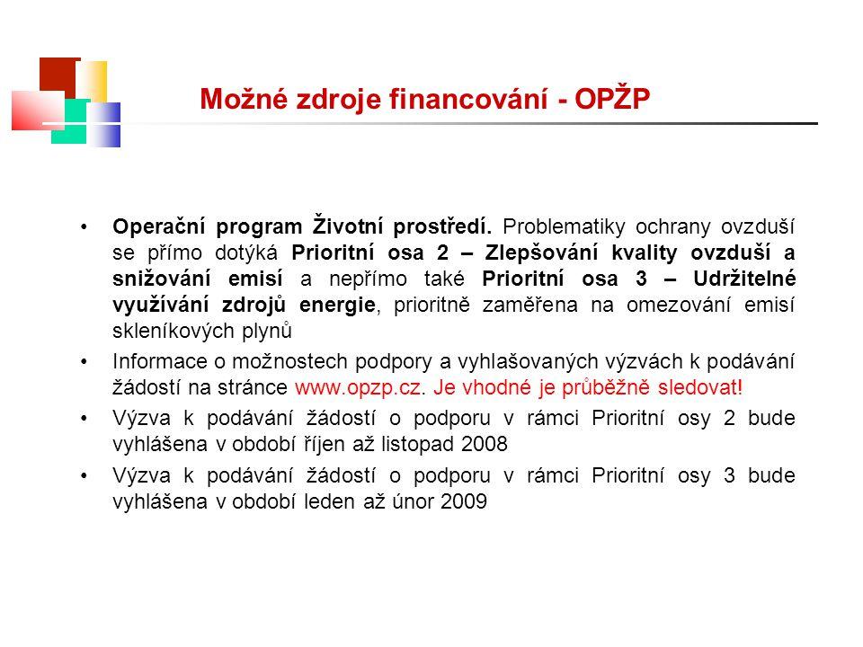 Možné zdroje financování - OPŽP Operační program Životní prostředí. Problematiky ochrany ovzduší se přímo dotýká Prioritní osa 2 – Zlepšování kvality