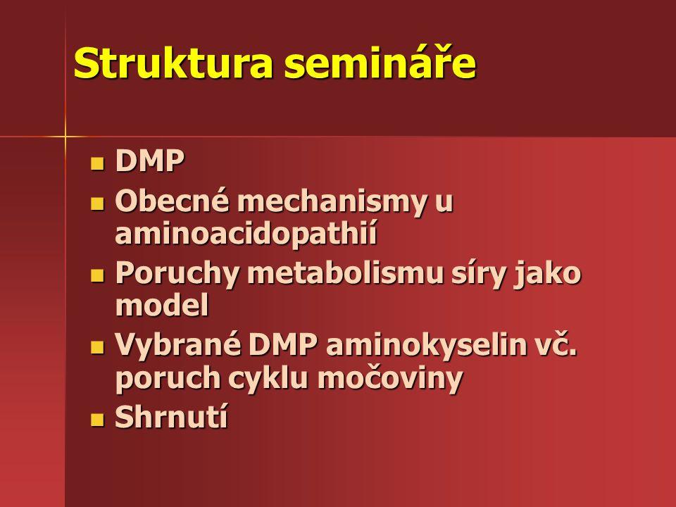Struktura semináře DMP DMP Obecné mechanismy u aminoacidopathií Obecné mechanismy u aminoacidopathií Výskyt aminoacidopathií v ČR Výskyt aminoacidopathií v ČR Poruchy metabolismu síry jako model Poruchy metabolismu síry jako model Vybrané DMP aminokyselin Vybrané DMP aminokyselin Shrnutí Shrnutí