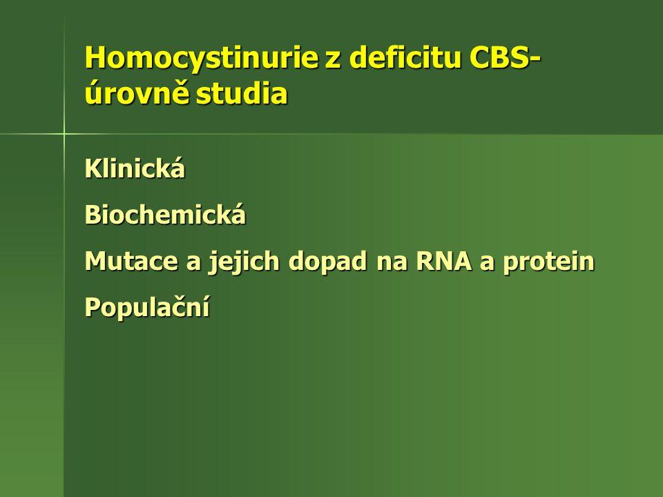 Homocystinurie z deficitu CBS- úrovně studia KlinickáBiochemická Mutace a jejich dopad na RNA a protein Populační