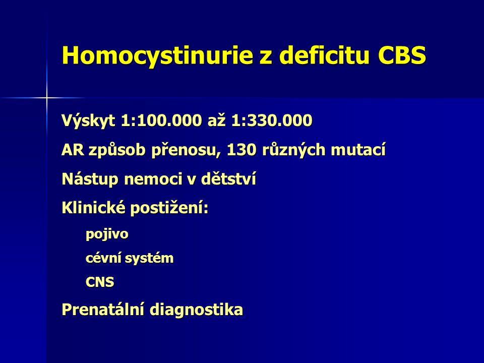 Homocystinurie z deficitu CBS Výskyt 1:100.000 až 1:330.000 AR způsob přenosu, 130 různých mutací Nástup nemoci v dětství Klinické postižení: pojivo cévní systém CNS Prenatální diagnostika