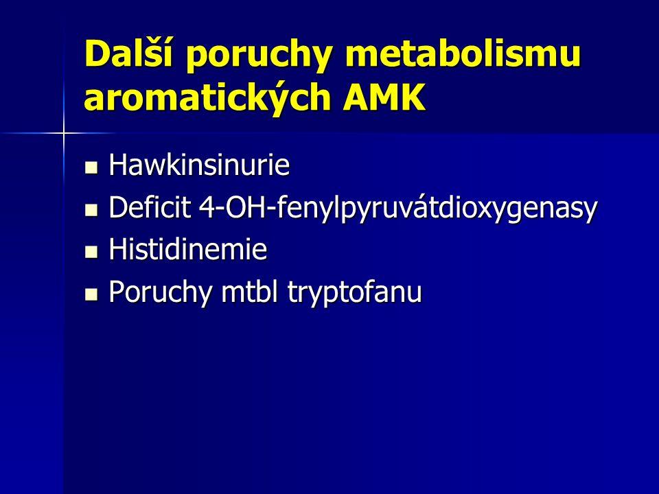 Další poruchy metabolismu aromatických AMK Hawkinsinurie Hawkinsinurie Deficit 4-OH-fenylpyruvátdioxygenasy Deficit 4-OH-fenylpyruvátdioxygenasy Histidinemie Histidinemie Poruchy mtbl tryptofanu Poruchy mtbl tryptofanu