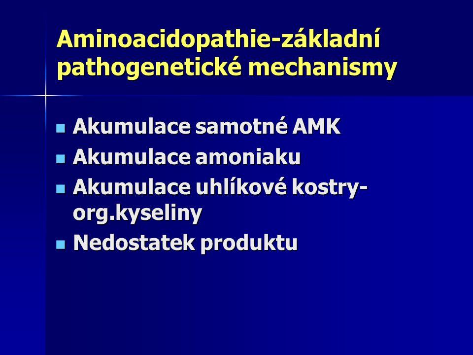 Aminoacidopathie-základní pathogenetické mechanismy Akumulace samotné AMK Akumulace samotné AMK Akumulace amoniaku Akumulace amoniaku Akumulace uhlíkové kostry- org.kyseliny Akumulace uhlíkové kostry- org.kyseliny Nedostatek produktu Nedostatek produktu