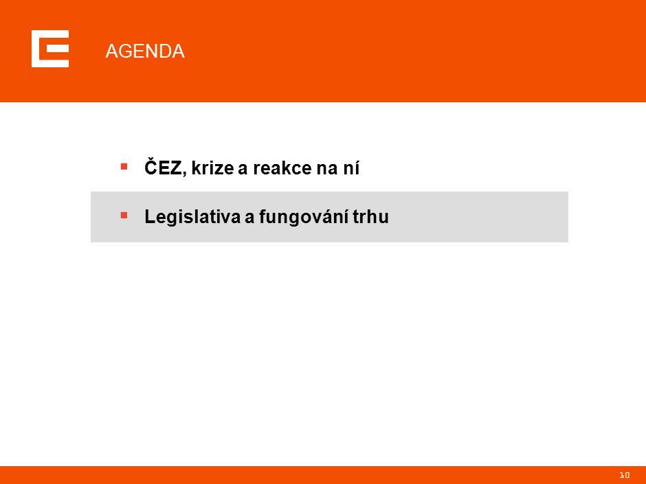 10 AGENDA  ČEZ, krize a reakce na ní  Legislativa a fungování trhu