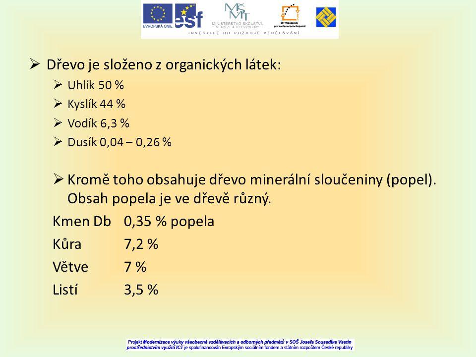  Dřevo je složeno z organických látek:  Uhlík 50 %  Kyslík 44 %  Vodík 6,3 %  Dusík 0,04 – 0,26 %  Kromě toho obsahuje dřevo minerální sloučenin