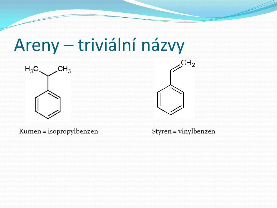 Areny – triviální názvy Kumen = isopropylbenzenStyren = vinylbenzen