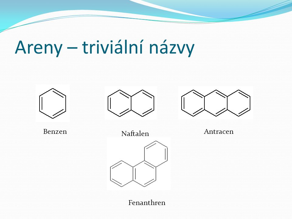 Areny – triviální názvy Benzen Naftalen Antracen Fenanthren