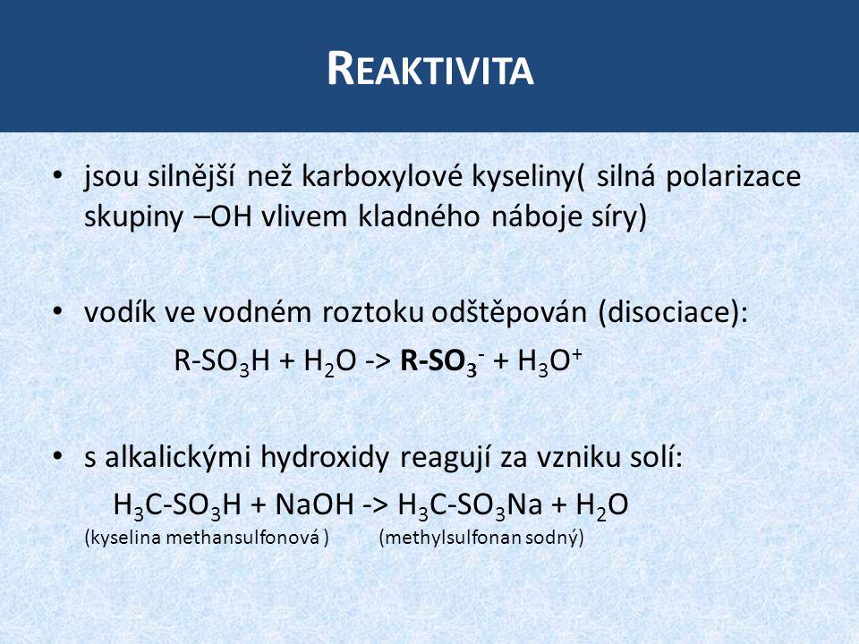R EAKTIVITA jsou silnější než karboxylové kyseliny( silná polarizace skupiny –OH vlivem kladného náboje síry) vodík ve vodném roztoku odštěpován (disociace): R-SO 3 H + H 2 O -> R-SO 3 - + H 3 O + s alkalickými hydroxidy reagují za vzniku solí: H 3 C-SO 3 H + NaOH -> H 3 C-SO 3 Na + H 2 O (kyselina methansulfonová ) (methylsulfonan sodný)
