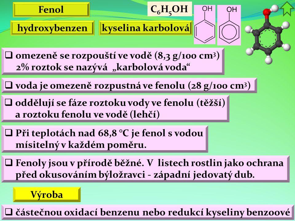 """Fenol  voda je omezeně rozpustná ve fenolu (28 g/100 cm 3 )  omezeně se rozpouští ve vodě (8,3 g/100 cm 3 ) 2% roztok se nazývá """"karbolová voda""""  o"""