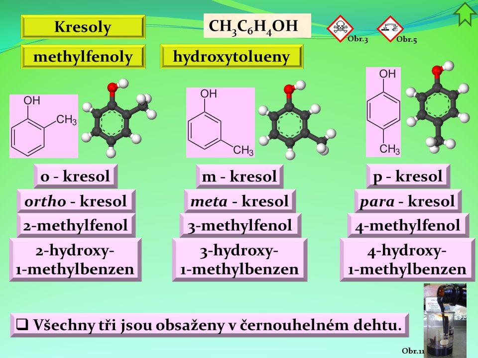 Obr.11 Kresoly o - kresol CH 3 C 6 H 4 OH methylfenoly hydroxytolueny Obr.3 Obr.5 m - kresol p - kresol ortho - kresolmeta - kresolpara - kresol 2-met