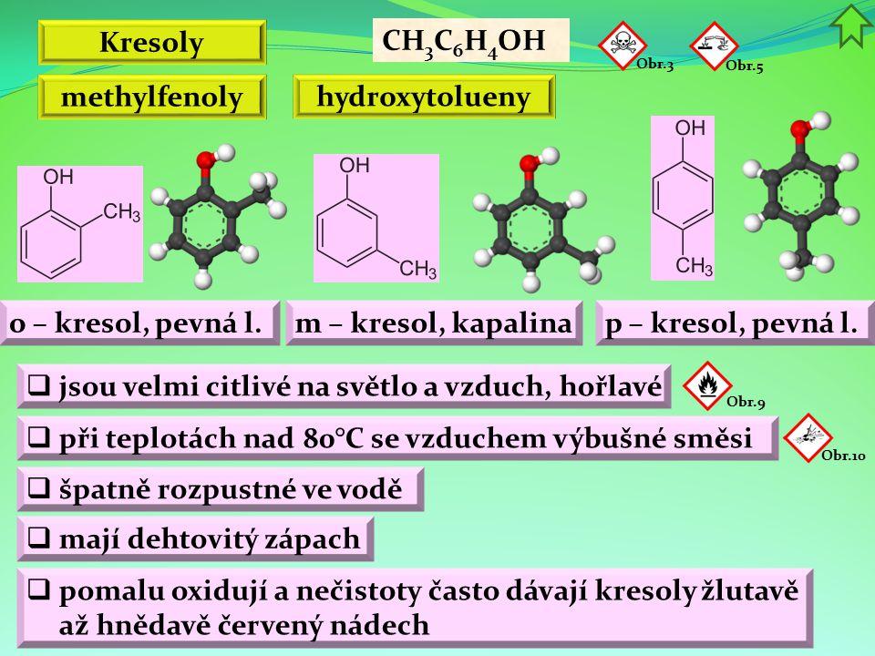 Kresoly o – kresol, pevná l. CH 3 C 6 H 4 OH methylfenoly hydroxytolueny Obr.5 m – kresol, kapalinap – kresol, pevná l.  jsou velmi citlivé na světlo