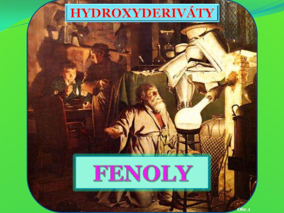 Obr.8 Fenol  kondenzací s acetonem dává bisfenol-A  výroba plastů  polykarbonáty a epoxidové pryskyřice C 6 H 5 OH hydroxybenzen kyselina karbolová Obr.3  výroba léčiv  Kondenzace fenolu s formaldehydem - fenolové pryskyřice - bakelit.
