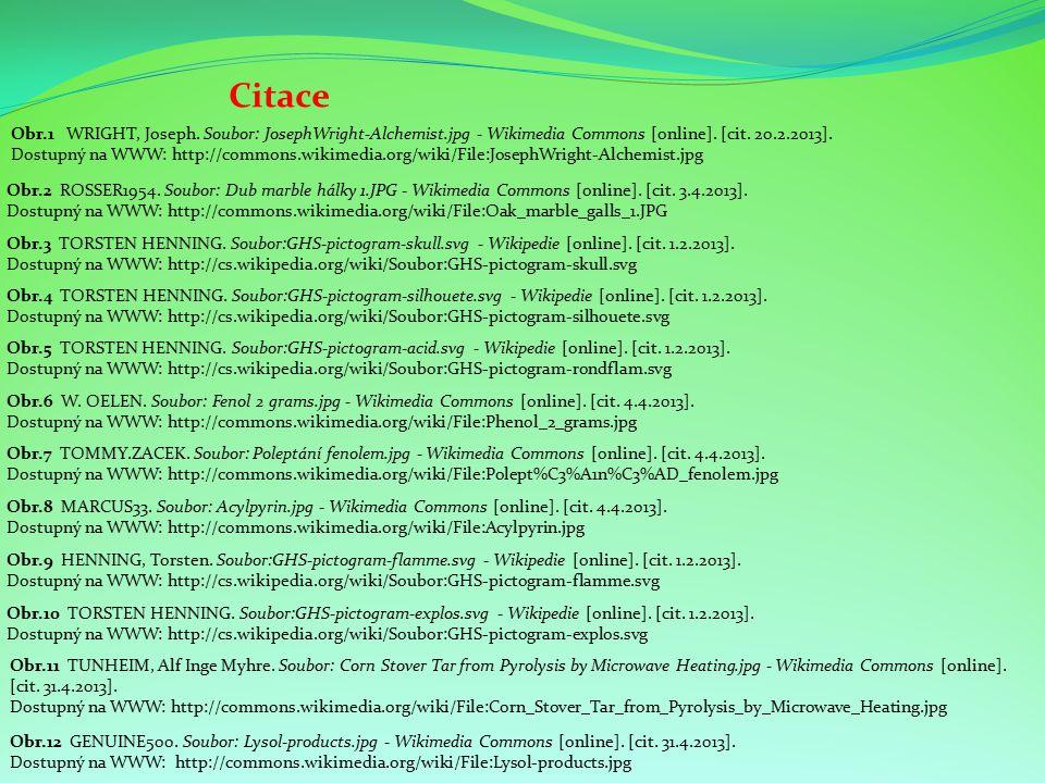 Citace Obr.5 TORSTEN HENNING. Soubor:GHS-pictogram-acid.svg - Wikipedie [online]. [cit. 1.2.2013]. Dostupný na WWW: http://cs.wikipedia.org/wiki/Soubo