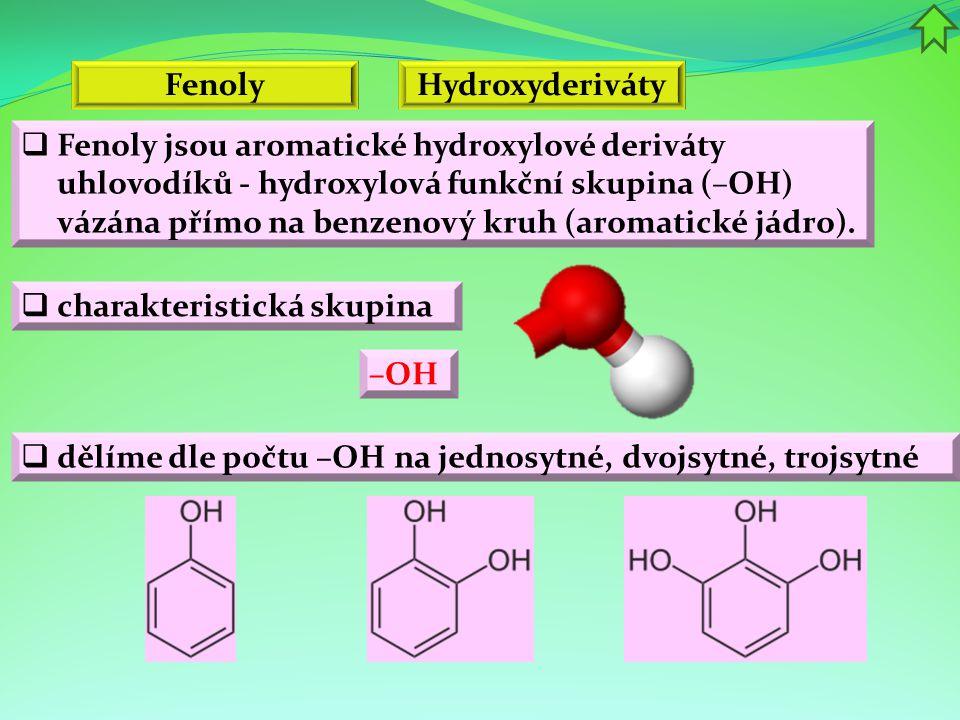 Fenoly  Příprava a výroba fenolů  frakční destilací dehtů  hydrolýza fenolických esterů nebo etherů  náhrada aromatického aminu hydroxylovou skupinou pomocí vody  redukce chinonů  tavením hydroxidů se solí arylsulfonové kyseliny C 6 H 5 SO 3 Na + NaOH → C 6 H 5 OH + Na 2 SO 3  hydrolýza diazoniových solí