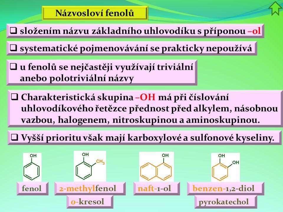Názvosloví fenolů 2-methylfenol naft-1-ol o-kresol  systematické pojmenovávání se prakticky nepoužívá  u fenolů se nejčastěji využívají triviální an