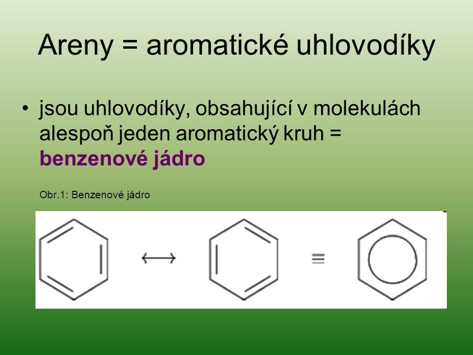 Areny = aromatické uhlovodíky jsou uhlovodíky, obsahující v molekulách alespoň jeden aromatický kruh = benzenové jádro Obr.1: Benzenové jádro